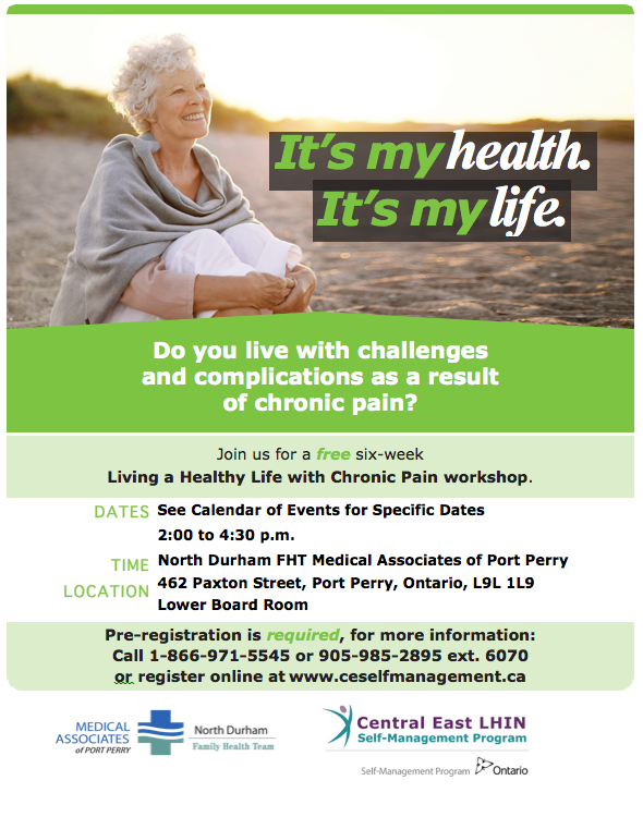 Find out more about our Living a healthy life with chronic pain workshop - phone our office at 905-985-2895 extension 6070